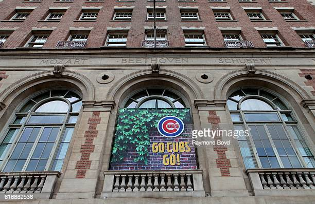 A 'Go Cubs Go' banner hangs at the Chicago Symphony Center to celebrate the Chicago Cubs' World Series birth in Chicago Illinois on October 27 2016