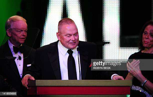 Go Daddy group founder Bob Parsons speaks on stageat Muhammad Ali's Celebrity Fight Night XVIII on March 24 2012 in Phoenix Arizona Parsons donated...