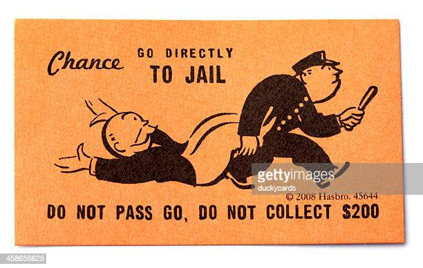 go directly to jail chance card - leisure games stock pictures, royalty-free photos & images