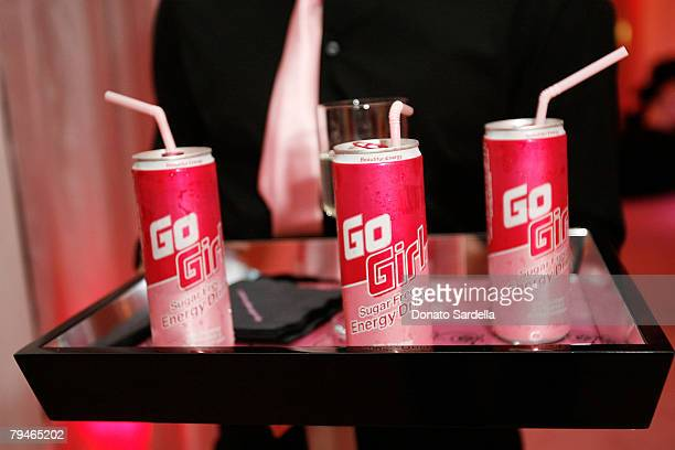 Go Girl drinks at The New Pink BlackBerryr Pearl Smartphone Launch Party on January 31 2008 in Los Angeles California