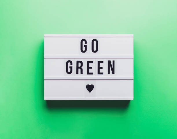 Go Green Sign. Green Background. Renewable energy against climate change and global warming