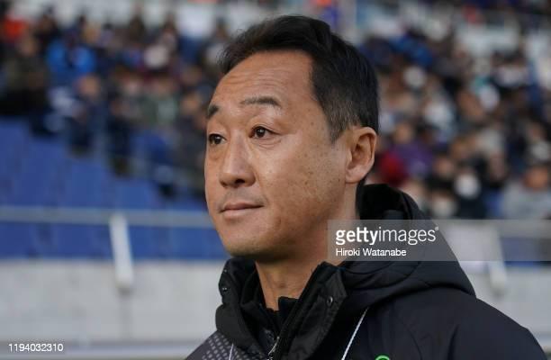 Go Kuroda,coach of Aomori Yamada looks on prior to the Prince Takamado Trophy JFA U-18 Football Premier League final between Aomori Yamada and Nagoya...