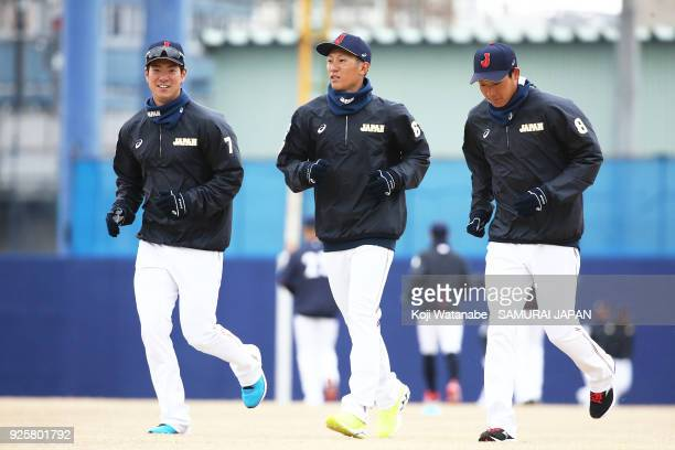 Go Matsumoto Ryoma and Nishikawa and Yusuke Ohyama of Japan in actin during a Japan training session at the Nagoya Dome on March 1 2018 in Nagoya...