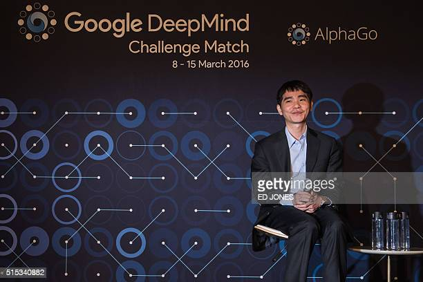 'Go' player Lee SeDol attends a postmatch press conference after his first win against a Googledeveloped supercomputer in Seoul on March 13 2016 A...