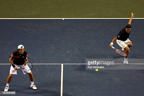 Go Soeda of Japan and Tatsuma Ito of Japan in action during the men's first round doubles match against Jamie Murray of the Great Britain and John...
