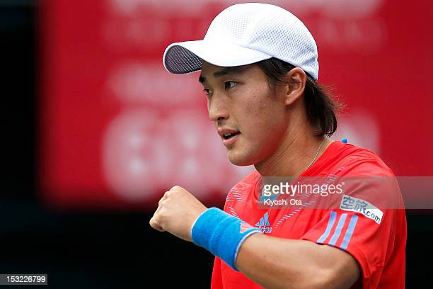 Go Soeda of Japan celebrates a point in his first round match against Kei Nishikori of Japan during day two of the Rakuten Open at Ariake Colosseum...