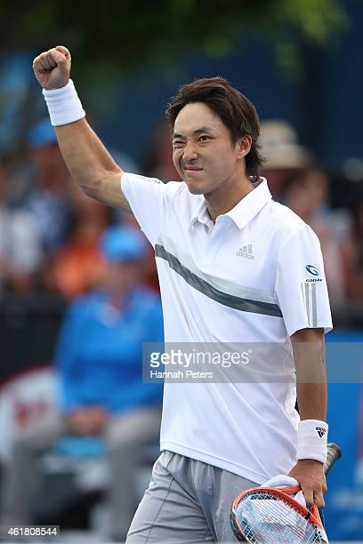 Go Soeda of Japan celebrates winning his first round match against Elias Ymer of Sweden during day two of the 2015 Australian Open at Melbourne Park...