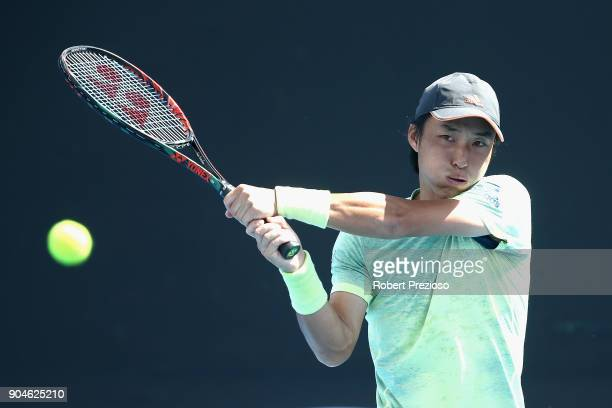 Go Soeda of Japan competes in his third round match against Dennis Novak of Austria during 2018 Australian Open Qualifying at Melbourne Park on...