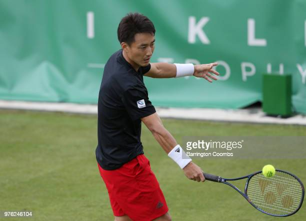 Go Soeda of Japan in action during Day One of the Fuzion 100 Ikley Trophy at Ilkley Lawn Tennis Squash Club on June 16 2018 in Ilkley United Kingdom
