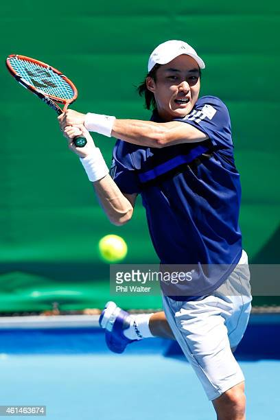 Go Soeda of Japan plays a backhand in his game against Donald Young of the USA during day two of the 2015 Heineken Open Classic at Auckland Tennis...