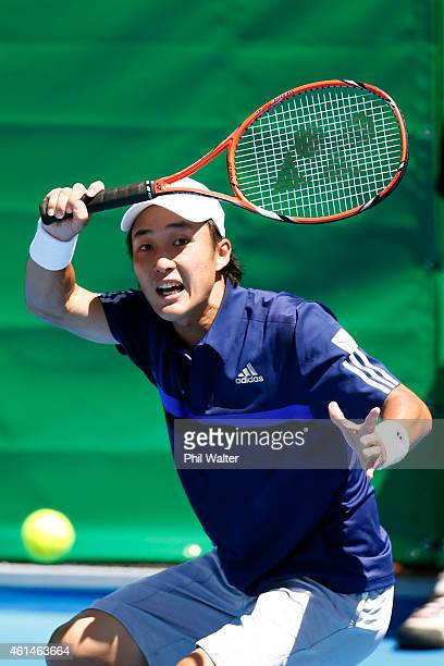 Go Soeda of Japan plays a forehand in his game against Donald Young of the USA during day two of the 2015 Heineken Open Classic at Auckland Tennis...