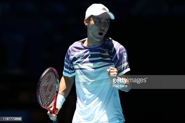 Go Soeda of Team Japan celebrates after winning his singles match against Aleksandre Metreveli of Team Georgia during day four of the 2019 ATP Cup...