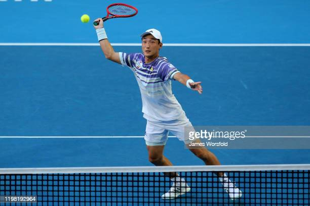 Go Soeda of Team Japan looks to smash the ball back over the net during day six of the 2020 ATP Cup Group Stage at RAC Arena on January 08, 2020 in...