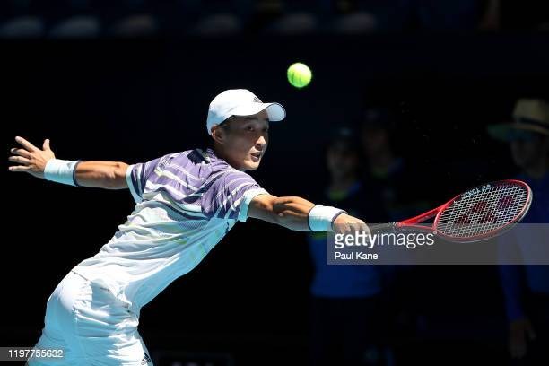 Go Soeda of Team Japan plays a backhand to Aleksandre Metreveli of Team Georgia during day four of the 2019 ATP Cup Group Stage at RAC Arena on...