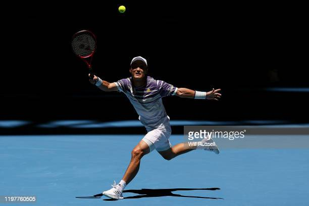Go Soeda of Team Japan plays a forehand to Aleksandre Metreveli of Team Georgia during day four of the 2019 ATP Cup Group Stage at RAC Arena on...
