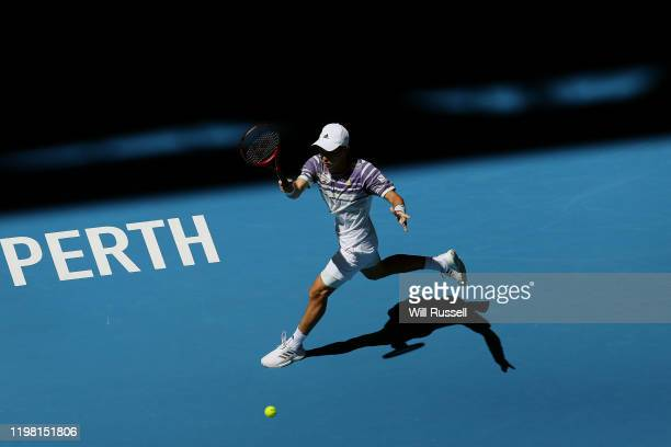 Go Soeda of Team Japan plays a forehand to Roberto Bautista Agut of Team Spain during day six of the 2020 ATP Cup Group Stage at RAC Arena on January...
