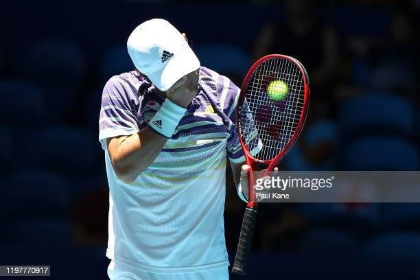 Go Soeda of Team Japan reacts after winning his singles match against Aleksandre Metreveli of Team Georgia during day four of the 2019 ATP Cup Group...