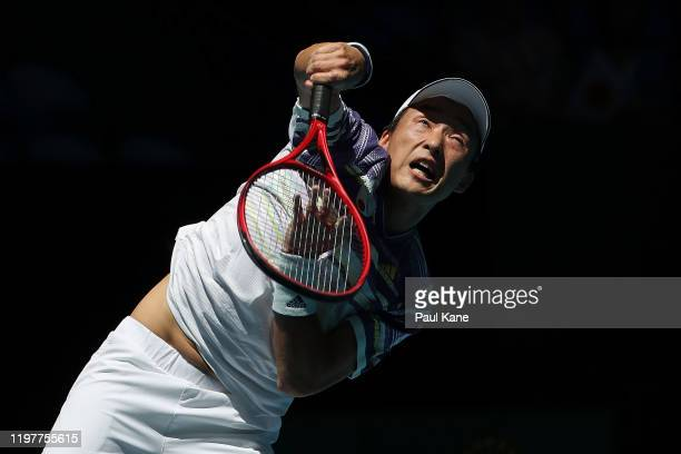 Go Soeda of Team Japan serves to Aleksandre Metreveli of Team Georgia during day four of the 2019 ATP Cup Group Stage at RAC Arena on January 06 2020...