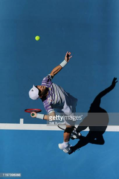 Go Soeda of Team Japan serves to Martin Cuevas of Team Uruguay during day two of the 2020 ATP Cup Group Stage at RAC Arena on January 04 2020 in...