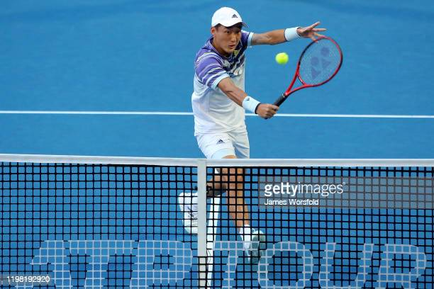 Go Soeda of Team Japan volley's the ball back over the net during day six of the 2020 ATP Cup Group Stage at RAC Arena on January 08 2020 in Perth...