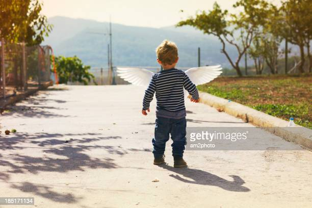 go to fly - male angel stock photos and pictures