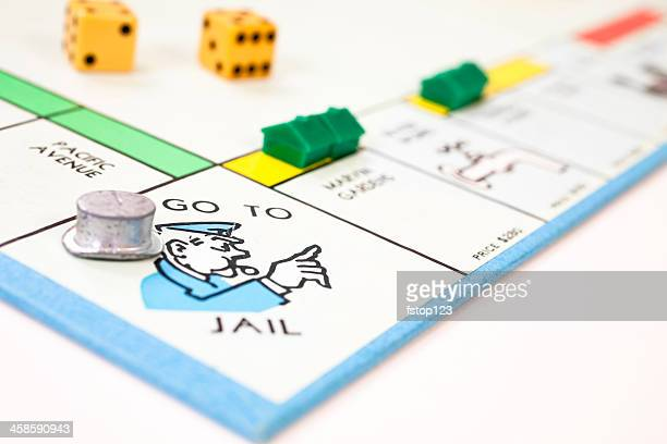 Go to jail on a monopoly board with top hat.