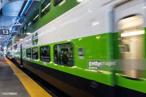 go transit train in toronto - on the move stock pictures, royalty-free photos & images