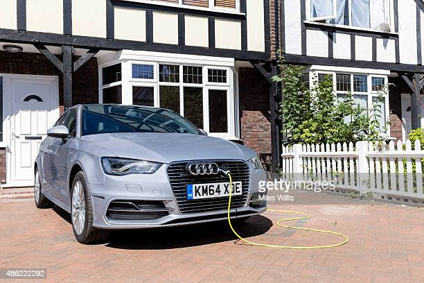 Go Ultra Low Audi A3 Sportback etron on charge on a London driveway on July 21 2015 in London England Ultralow emission vehicles such as this can...