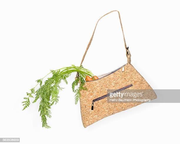 Go vegan - handbag made of cork with carrots
