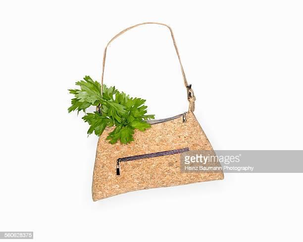 Go Vegan - Handbag made of cork with celery