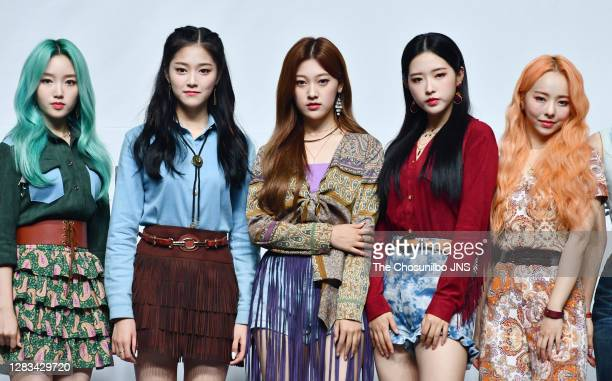 Go Won, Hyunjin, Choerry, Olivia Hye, Vivi of LOONA during LOONA's New Mini Album 'Midnight' at Blue Square on October 19, 2020 in Seoul, South Korea.