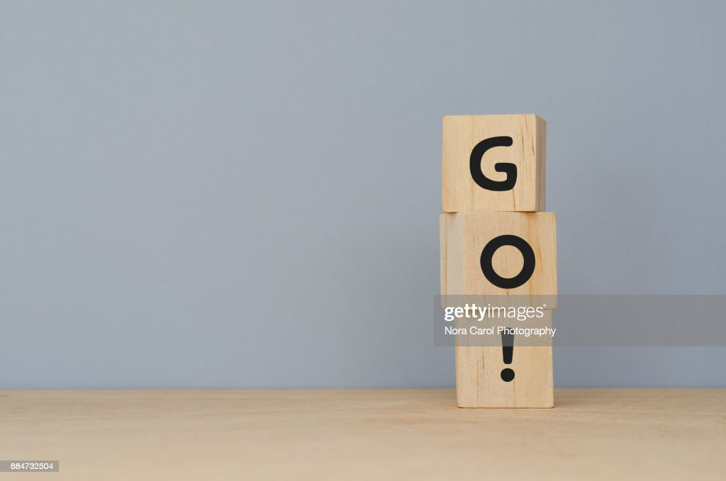 Go! Word on Wooden Blocks : Stock-Foto