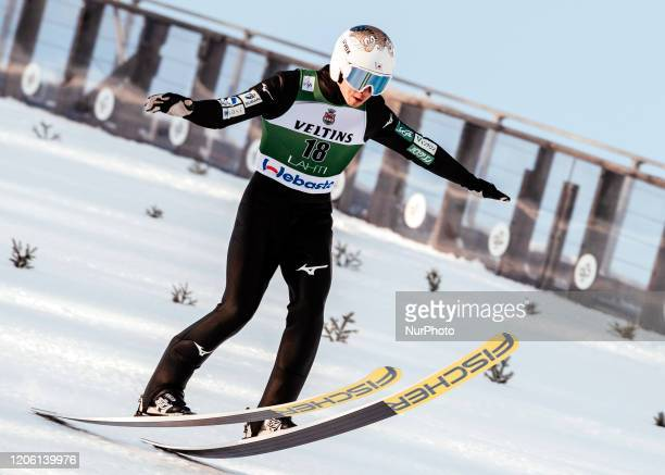 Go Yamamoto during the Nordic Combined HS130 provisional competition round of the FIS Nordic Ski World Championships in Lahti, Finland, on February...