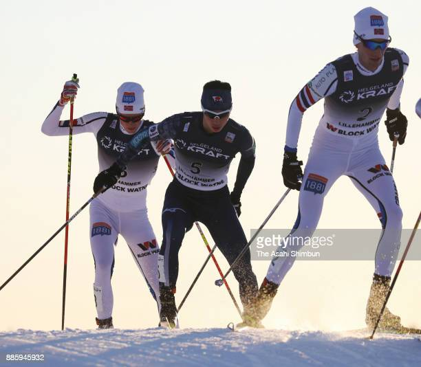 Go Yamamoto of Japan competes in the cross country of the Men's Gundersen LH HS140/100 K during day two of the FIS Nordic Combined World Cup on...