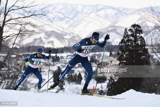 Go Yamamoto of Japan competes in the Individual Gundersen LH/10km during day two of the FIS Nordic Combined World Cup Hakuba on February 4 2018 in...