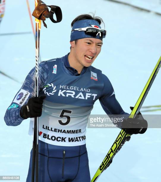 Go Yamamoto of Japan reacts after competing in the Men's Gundersen LH HS140/100 K during day two of the FIS Nordic Combined World Cup on December 3...