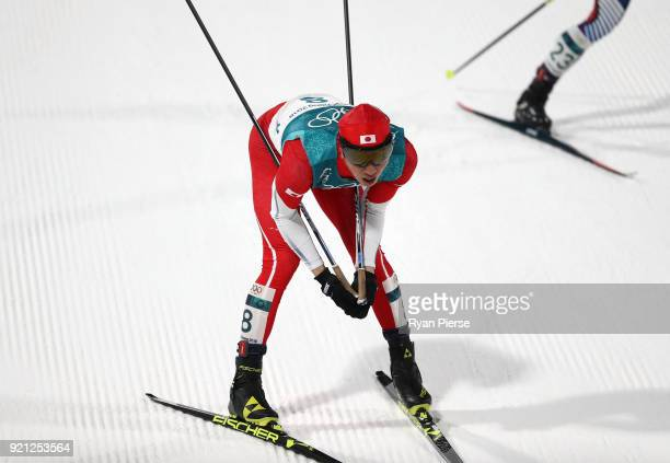 Go Yamamoto of Japan reacts after crossing the finish line during the Nordic Combined Individual Gundersen 10km CrossCountry on day eleven of the...