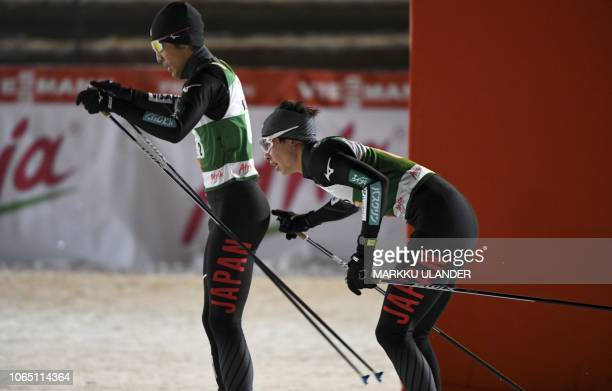 Go Yamamoto of Japan sends his teammate Yoshito Watabe to the track during the Men's Nordic Combined Team Competition at FIS Nordic Skiing World Cup...