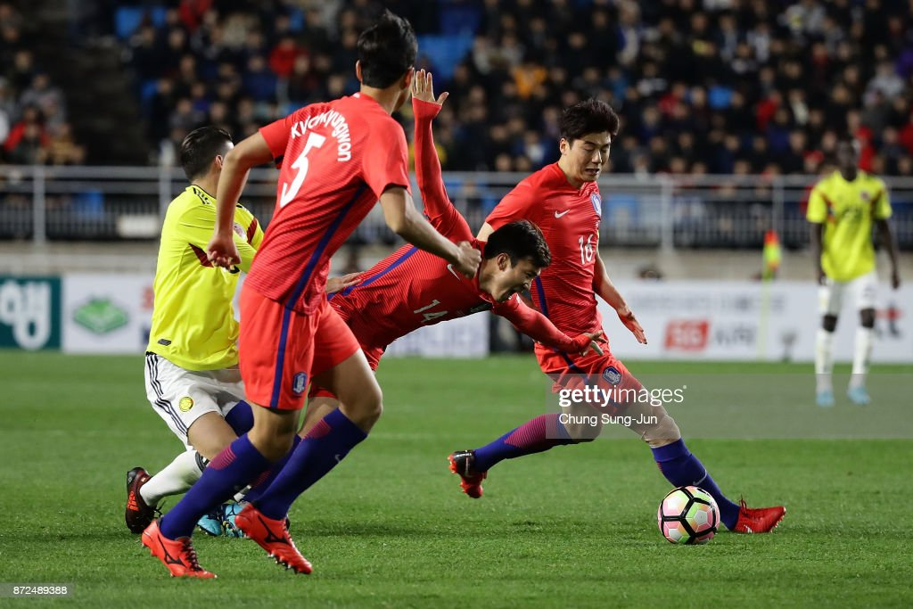 Go Yo-Han of South Korea in action during the international friendly match between South Korea and Colombia at Suwon World Cup Stadium on November 10, 2017 in Suwon, South Korea.
