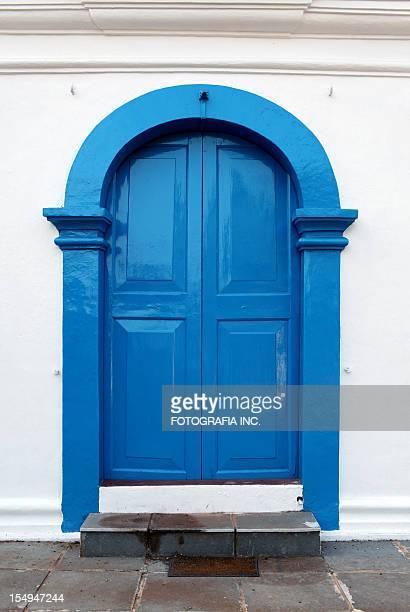 goa church door - panjim stock photos and pictures