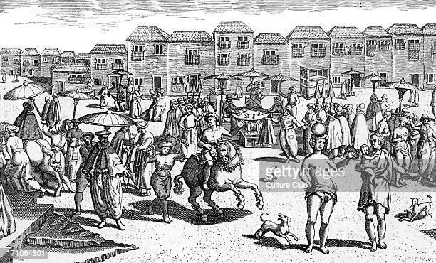 Goa, India, market scene 16th century. During the Portuguese colonisation. Engraving from 'Navigatio in Orientem', 1599.