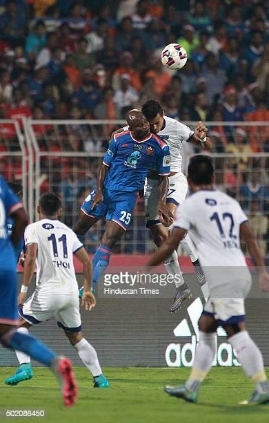 Goa player Dudu Omagbemi vying for ball with Chennaiyin FC player Maílson Alves during ISL Final match at Jawaharlal Nehru Stadium on December 20...