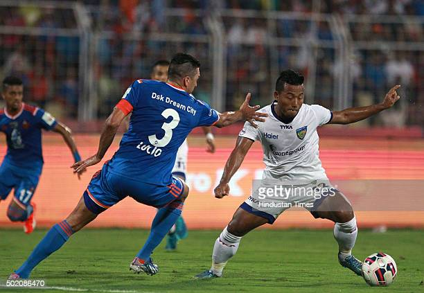 Goa player Lucio and Chennaiyin FC player Jeje Lalpekhlua in action during ISL Final match at Jawaharlal Nehru Stadium on December 20 2015 in Margao...
