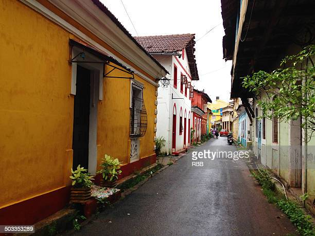 goa portuguese streets - panjim stock photos and pictures