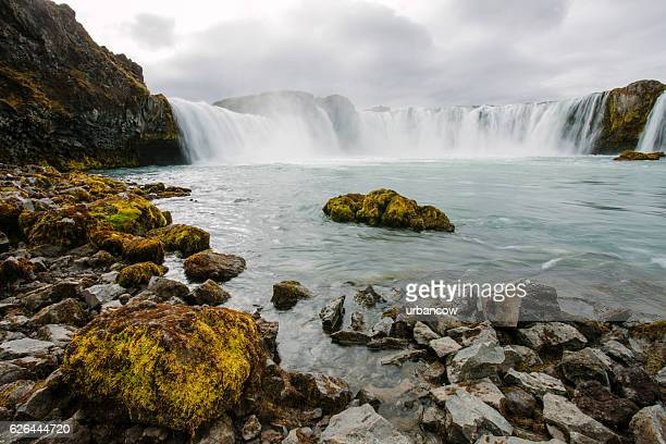 Goðafoss waterfall in summer River Skjálfandafljót, Iceland, long exposure