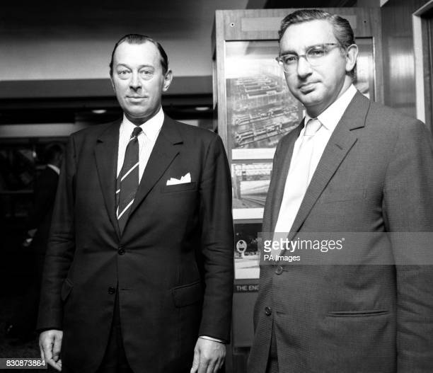 Goahead for GEC merger Lord Nelson and Mr Arnold Weinstock are shown prior to a press confrence outside the Old Board Room of English Electric House...
