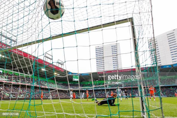 goal Ajdin Hrustic of FC Groningenduring the Dutch Eredivisie match between FC Groningen and PEC Zwolle at Noordlease stadium on April 16 2017 in...