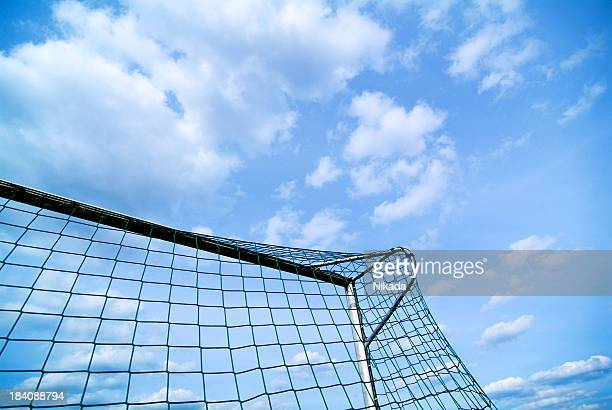 goal and sky - soccer scoreboard stock photos and pictures