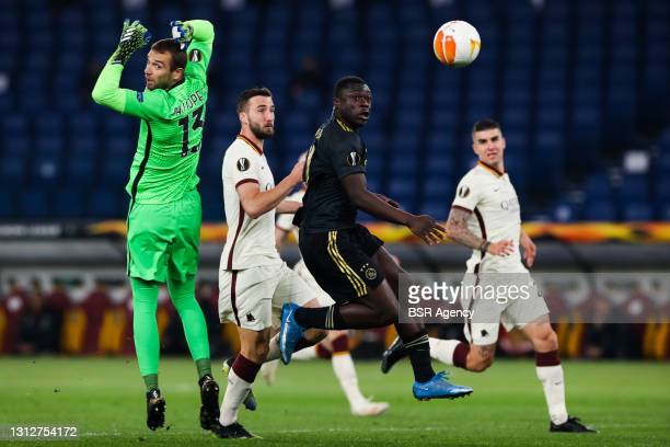 Goal by Brian Brobbey of Ajax, goalkeeper Pau Lopez of AS Roma during the UEFA Europa League Quarter Final: Leg Two match between AS Roma and Ajax at...