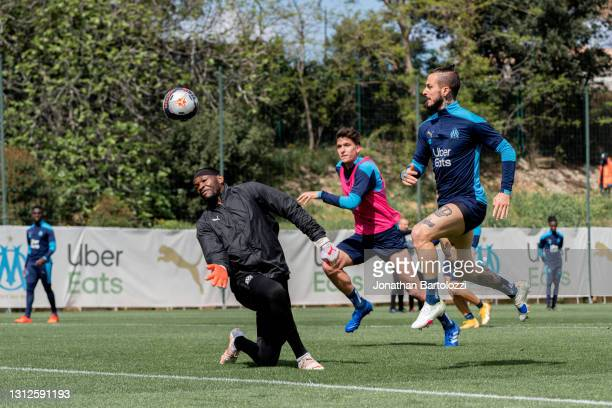 Goal by Dario Benedetto during an Olympique de Marseille training session at Centre Robert-Louis Dreyfus on April 14, 2021 in Marseille, France.